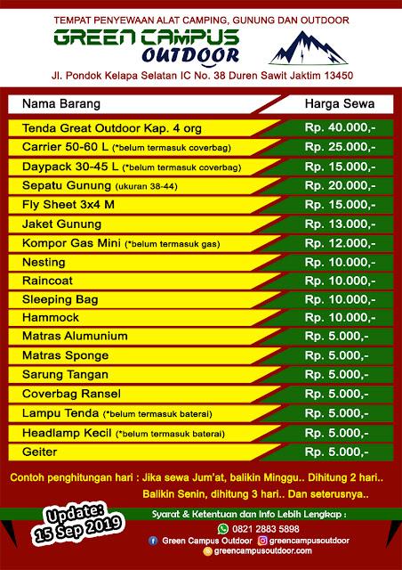 daftar harga sewa alat outdoor / camping / gunung Jakarta Timur dengan harga terjangkau barang berkualitas syarat mudah