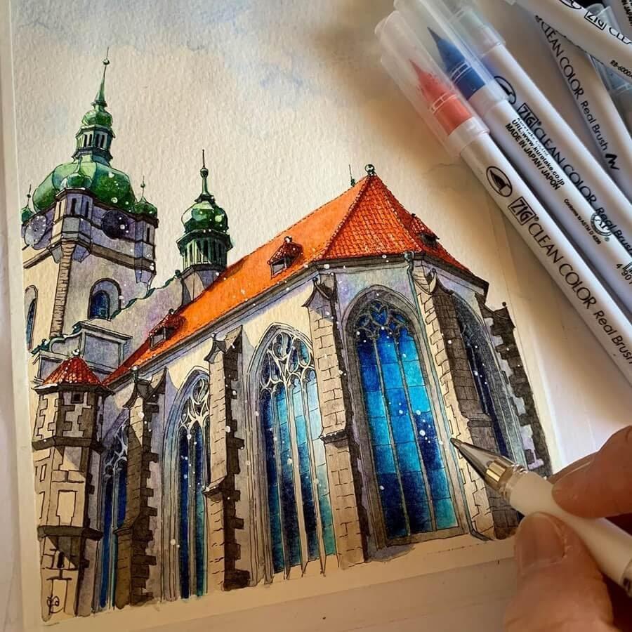 01-Basilica-in-Prague-Drawings-Rihiko-www-designstack-co