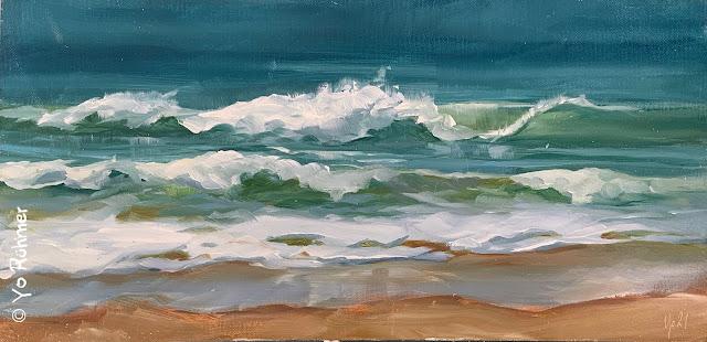 Wellen gemalt Ölbild Pleinairmalerei