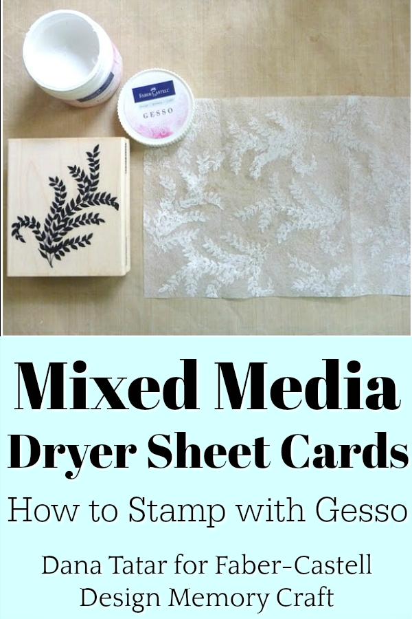 Gesso Stamped Dryer Sheet