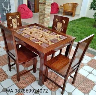 Meja makan minimalis 4 kursi ukir kayu jati jepara