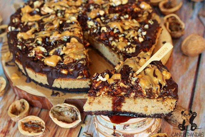 Sernik a'la Snickers z okary (bez glutenu, cukru białego, laktozy, wegańskie)