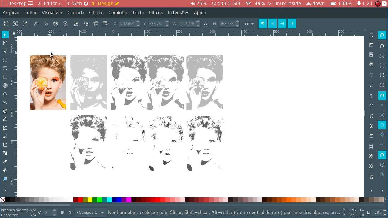 Desagrupando imagem vetorizada em modo de Múltiplas Varreduras