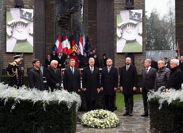 President Andrzej Duda, Queen Mathilde, King Philippe, Grand Duke Henri and Frank-Walter Steinmeier. red wool cashmere coat