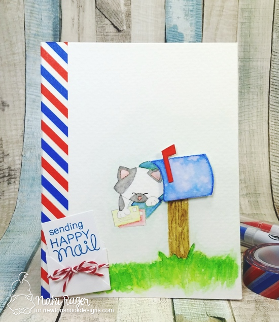 Cat in Mailbox Card by Naki Rager | Newton's Happy Mail stamp set by Newton's Nook Designs #newtonsnook #happymail