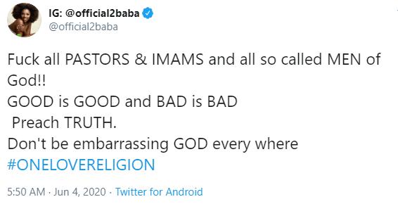 Stop disgracing God, 2baba task pastors #Arewapublisize