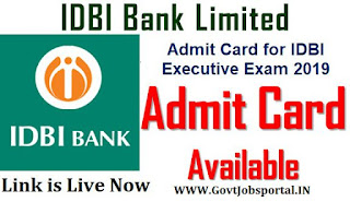 Admit Card for IDBI Executive Exam 2019
