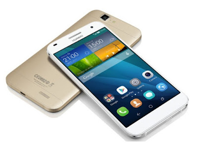 Huawei Ascend G7 Specifications - LAUNCH Also known as Huawei G7-L01, G7-L03 Announced 2014, September DISPLAY Type IPS LCD capacitive touchscreen, 16M colors Size 5.5 inches, 83.4 cm2 (~70.3% screen-to-body ratio) Resolution 720 x 1280 pixels, 16:9 ratio (~267 ppi density) Multitouch Yes  - Emotion UI 3.0 BODY Dimensions 153.5 x 77.3 x 7.6 mm (6.04 x 3.04 x 0.30 in) Weight 165 g (5.82 oz) SIM Micro-SIM PLATFORM OS Android 4.4.2 (KitKat), planned upgrade to 6.0 (Marshmallow) CPU Quad-core 1.2 GHz Cortex-A53 Chipset Qualcomm Snapdragon MEMORY Card slot microSD, up to 32 GB (dedicated slot) Internal 16 GB, 2 GB RAM CAMERA Primary 13 MP, f/2.0, autofocus, LED flash Secondary 5 MP Features Geo-tagging, touch focus, face/smile detection, panorama, HDR Video 1080p@30fps NETWORK Technology GSM / HSPA / LTE 2G bands GSM 850 / 900 / 1800 / 1900 - all versions 3G bands HSDPA 900 / 2100 - L01   HSDPA 850 / 1700 / 1900 / 2100 - L03 4G bands LTE band 1(2100), 3(1800), 7(2600), 8(900), 20(800) - L01   LTE band 2(1900), 4(1700/2100), 7(2600) - L03 Speed HSPA 42.2/5.76 Mbps, LTE Cat4 150/50 Mbps GPRS Yes EDGE Yes COMMS WLAN Wi-Fi 802.11 b/g/n, hotspot NFC Yes GPS Yes, with A-GPS, GLONASS USB microUSB 2.0, USB Host Radio FM radio Bluetooth 4.0, A2DP, LE FEATURES Sensors Accelerometer, proximity, compass Messaging SMS(threaded view), MMS, Email, Push Mail, IM Browser HTML5 Java No SOUND Alert types Vibration; MP3, WAV ringtones Loudspeaker Yes 3.5mm jack Yes  - Active noise cancellation with dedicated mic BATTERY  Non-removable Li-Po 3000 mAh battery Stand-by Stand-by Up to 600 h (3G) Talk time  Music play  MISC Colors Black, white  - XviD/MP4/H.264/WMV player - MP3/eAAC+/WMA/WAV/Flac player - Document viewer - Photo/video viewer/editor - Voice memo/dial/commands