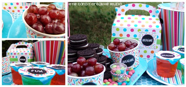 food ideas for outdoor art party, Oreos, grapes, Jell-o, art party food