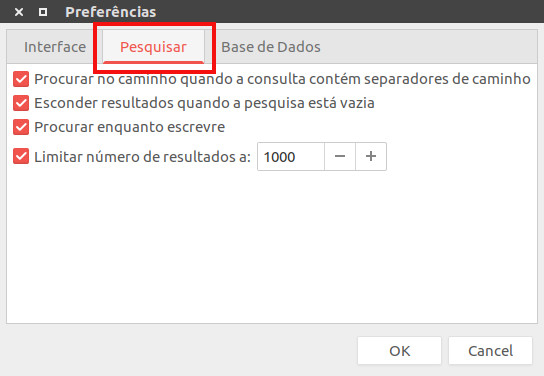 configuracao para localizar aquivos com o fsearch