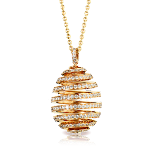 Spiral Diamond Rose gold pendant