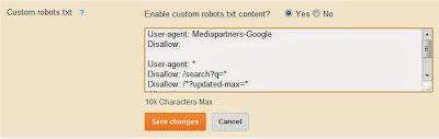Custom Robot.txt file for blogger