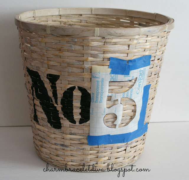 No. 5 stencil on basket