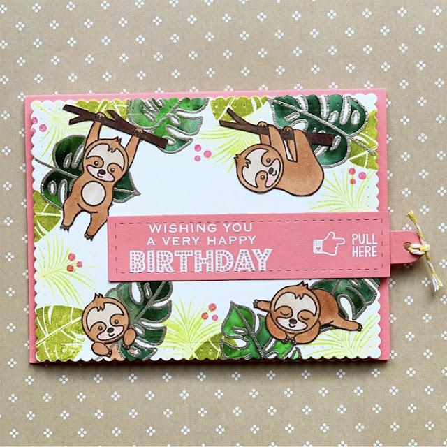 Sunny Studio Stamps: Silly Sloths Customer Card by Yukiko Sugiyama
