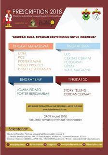 Lomba Karya Tulis Ilmiah Nasional PRESCRIPTION 2018 di Unhas