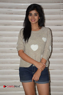 Actress Model Shamili (Varshini Sounderajan) Stills in Denim Shorts at Swachh Hyderabad Cricket Press Meet  0008.JPG