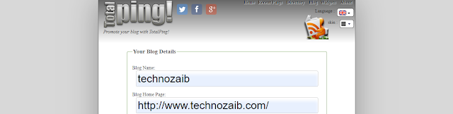 In total ping tool, you should enter your title site name, home page Url