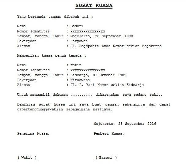 contoh surat kuasa pengambilan dokumen ijazah  stnk bpkb