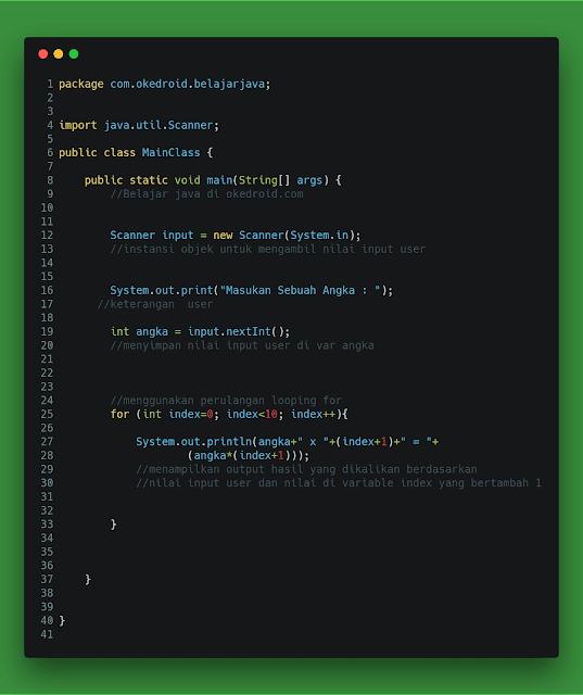 Contoh Code Menampilkan Tabel Perkalian 1 sampai 10 di Java
