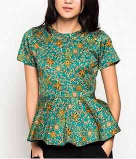 Model Keempat Baju Batik atasan Wanita lengan pendek