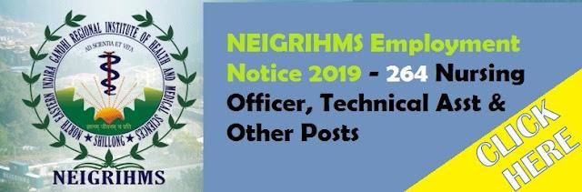 NEIGRIHMS Employment Notice 2019