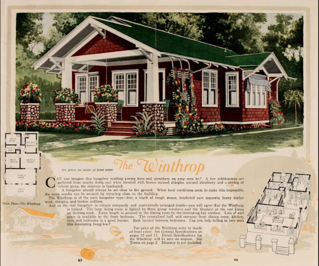 color image of Aladdin Winthrop model, and floorplans, 1919 catalog