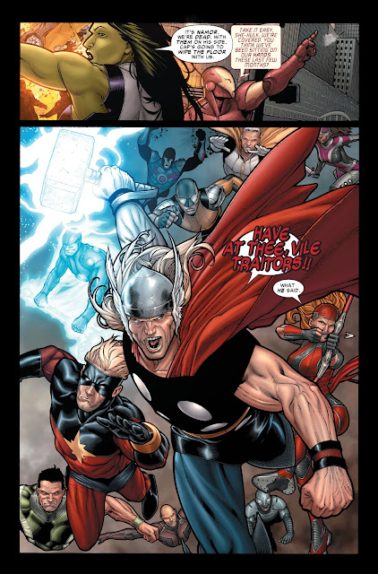 Thor along with the Champions advancing to fight Namor and his army.