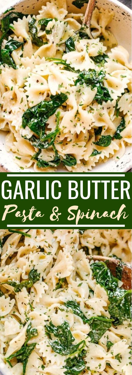 Creamy Garlic Butter Pasta with Spinach #dinner #pasta #vegetarian #spinach #recipes
