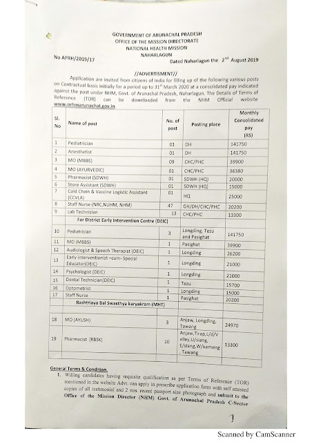Recruitment of various post of Pediatrician, Anesthetist, MO, Pharmacist, Assistant, Staff Nurse & Other  98 Posts in NHM