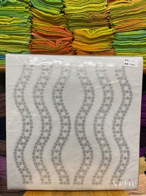 Sticker hotfix rhinestone DMC 6 jalur aplikasi tudung, bawal & fabrik pakaian motif islamik wavvy