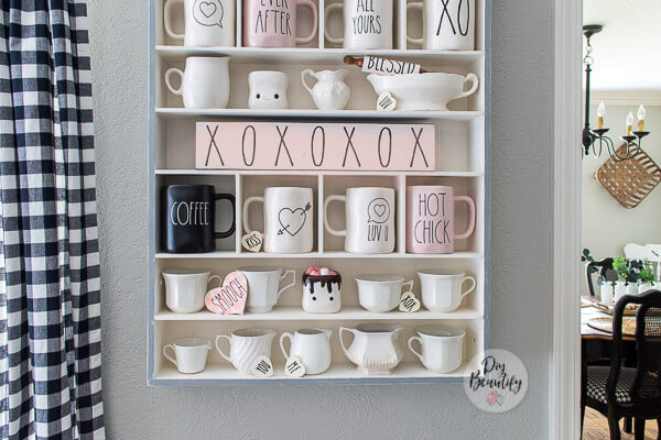 cubby with Valentines decor and mugs