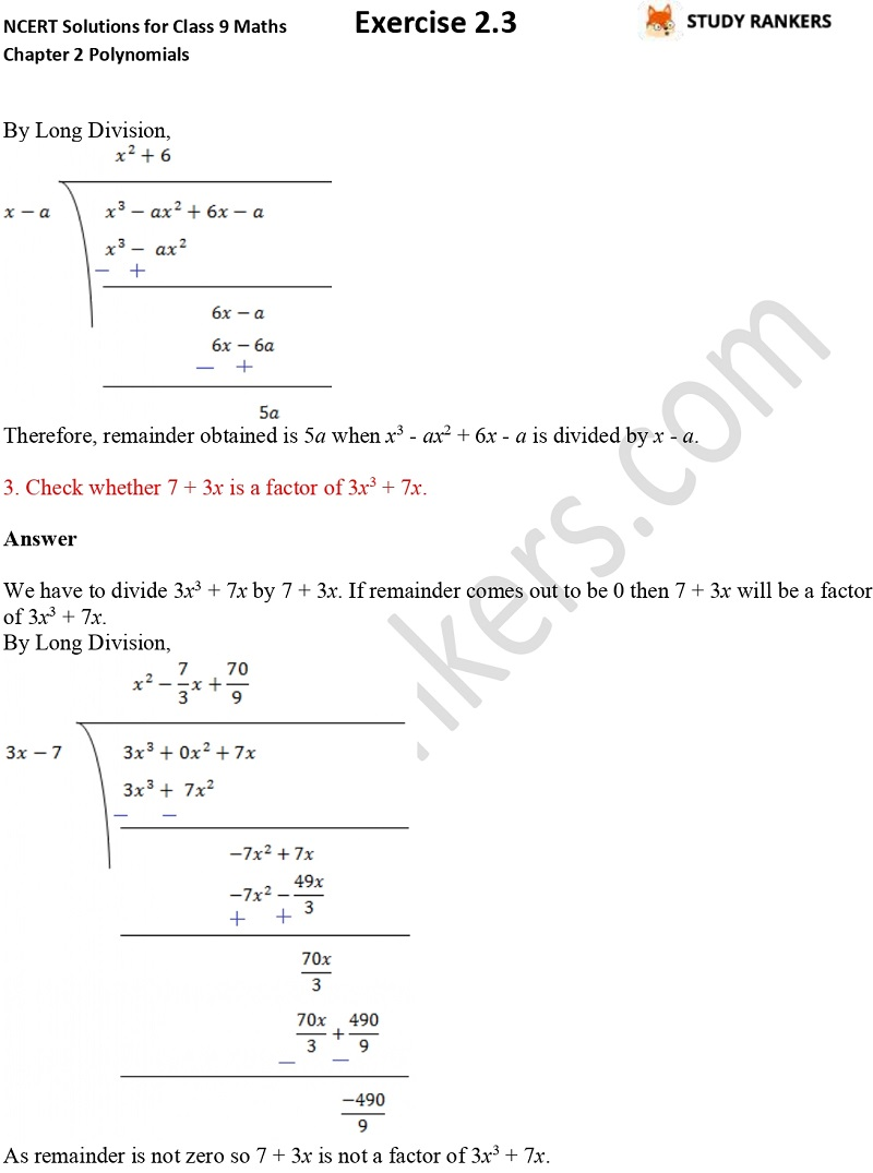 NCERT Solutions for Class 9 Maths Chapter 2 Polynomials Exercise 2.3 Part 4