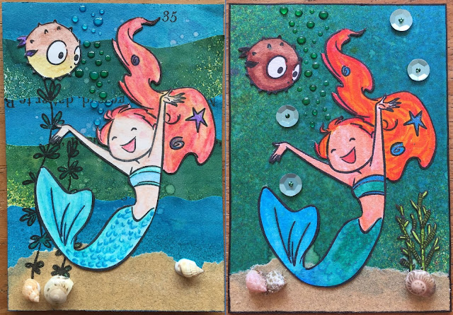 Mermaid ATC (Artist Trading Card)