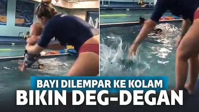 Astaga, Viral Video Bayi 8 Bulan Dilempar ke Kolam Renang
