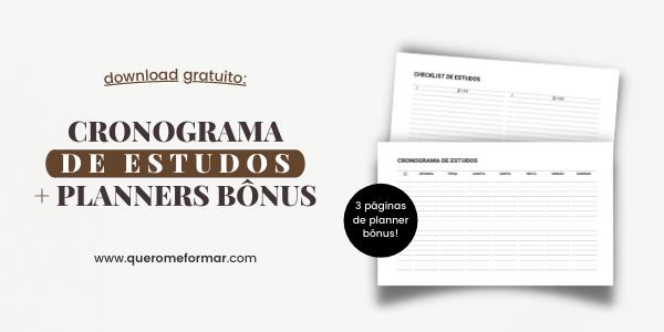 Banner de divulgação para blog Cronograma de Estudos para Imprimir Gratuitamente (2021) + Planners