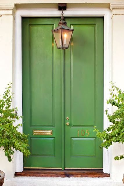 green front door lantern brass accents charming