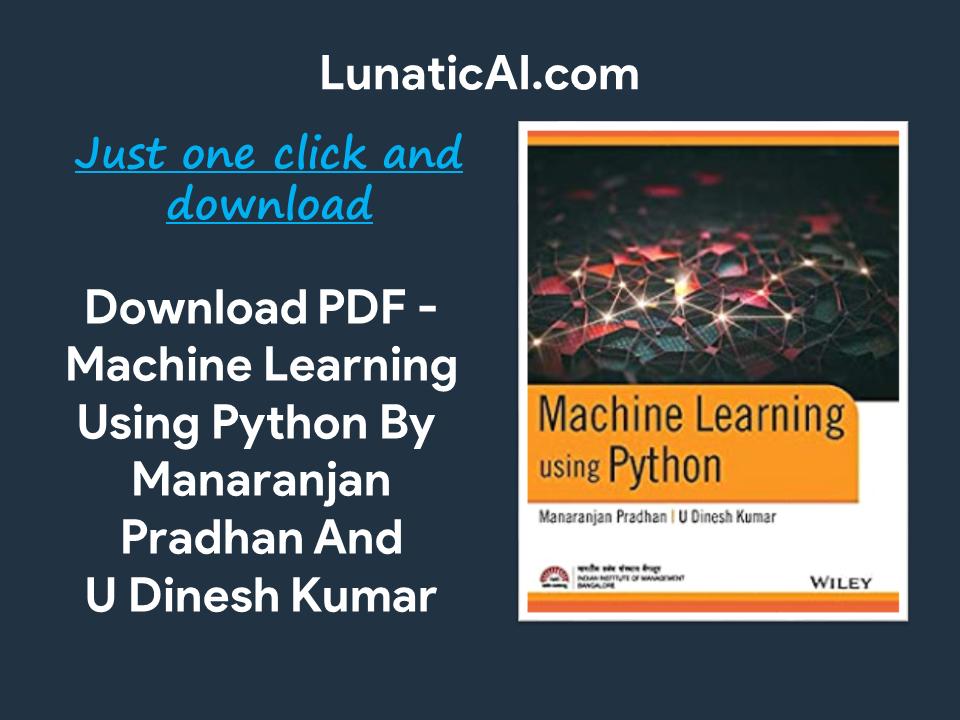 Machine Learning using Python Wiley PDF