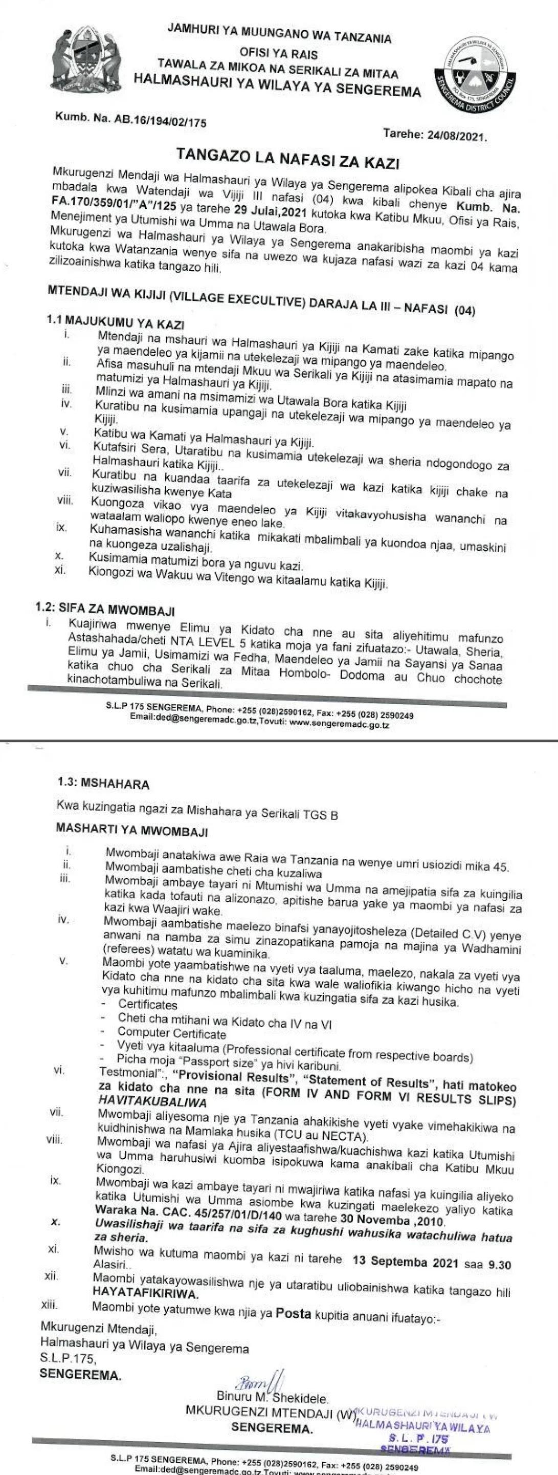 Executive Officers WATENDAJI at Sengerema District Council August 2021