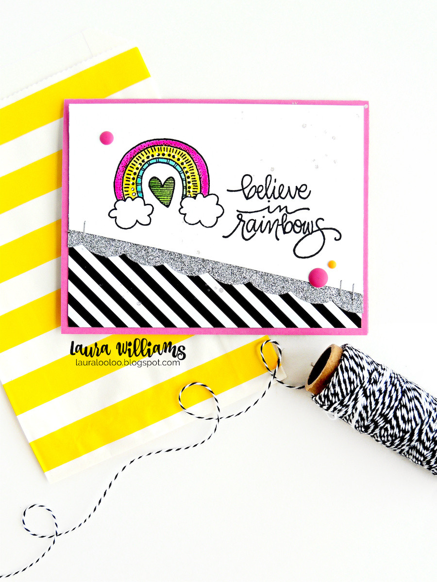 Believe in Rainbows handmade card idea with rubber stamps from Impression Obsession