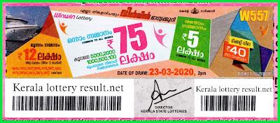 Kerala Lottery Result 23-03-2020 Win Win W-557 Lottery Result