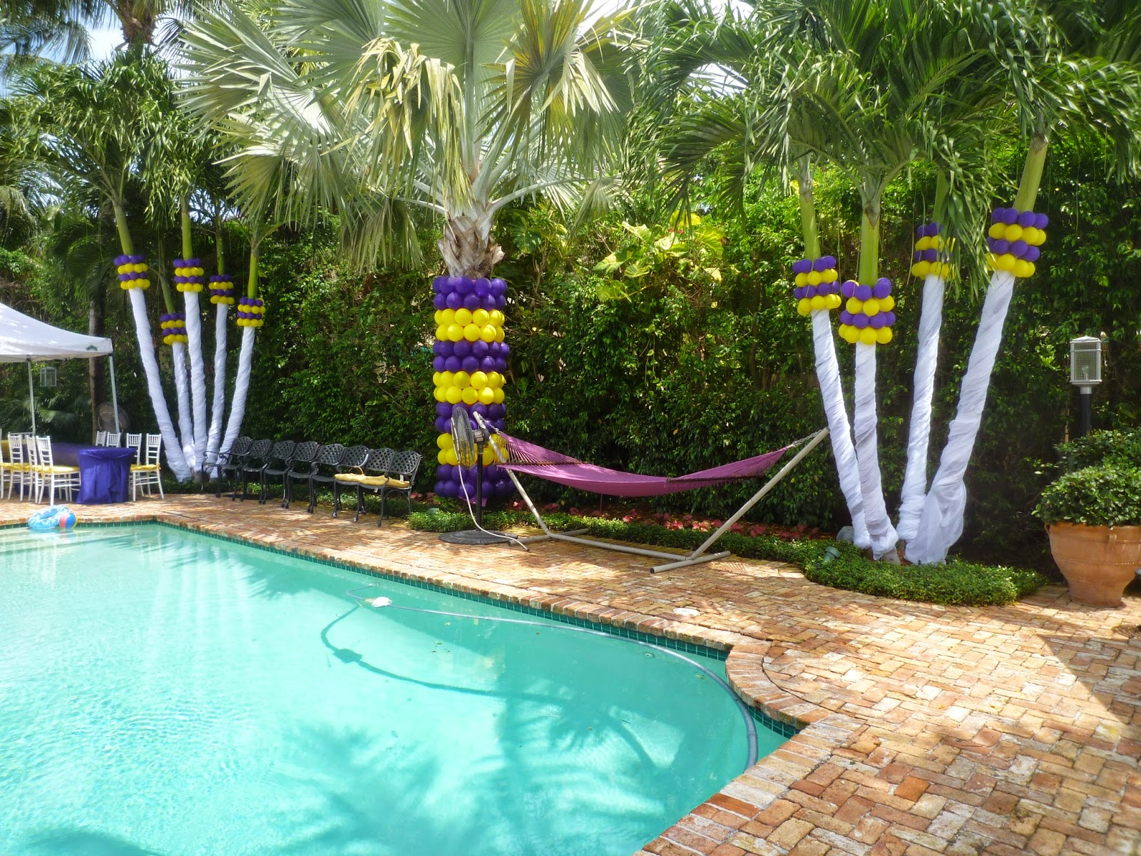 Kids party swimming pool decoration on backyard