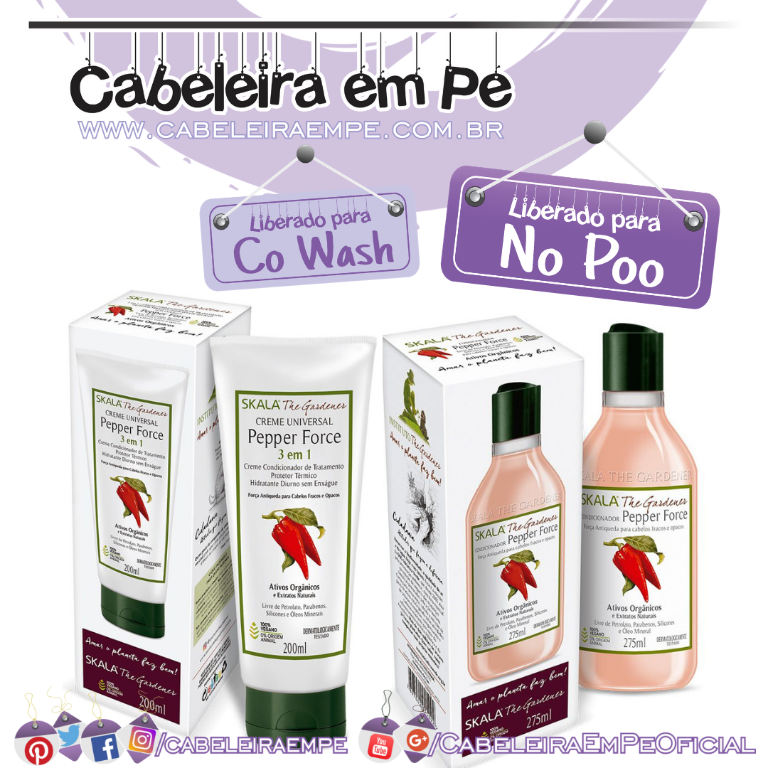 Condicionador Creme de tratamento Pepper Force - Skala The Gardener (No Poo e Co Wash)