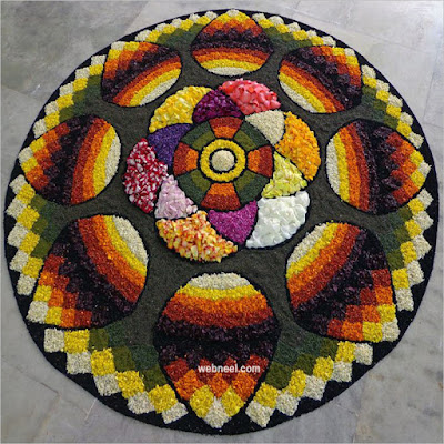 Onam Pookalam Design with Flowers