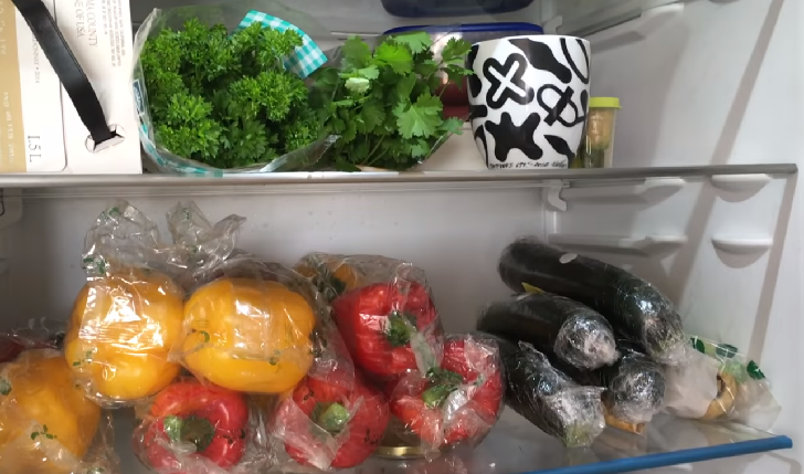 Healthy fruits and vegetables in the fridge