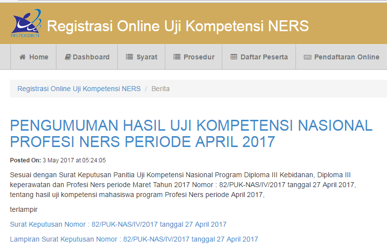 Pengumuman Hasil Ukom Profesi Ners Periode April 2017 stapbaak