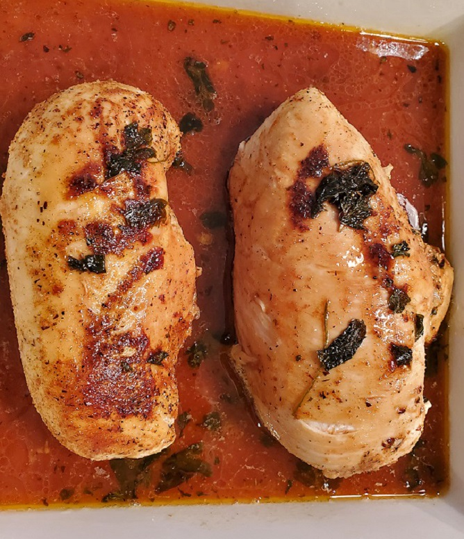 these are oven smoked chicken breasts in apple juice