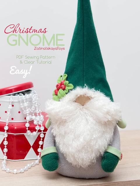 Olof Christmas gnome on the table by sewing patterns of Zatinatskaya Natalia