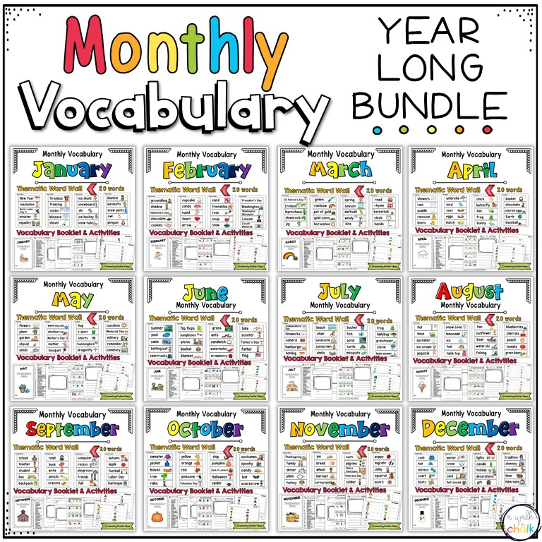 Monthly Themed Vocabulary and Activities