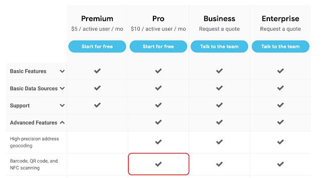 AppSheetの料金表