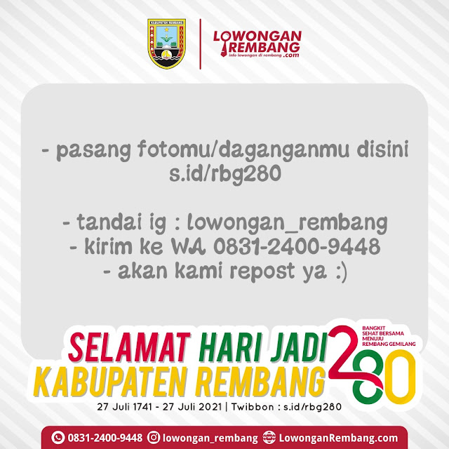 Logo dan Twibbon Hari Jadi Ke 280 Kabupaten Rembang Versi Lowongan Rembang